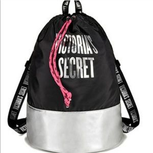 NWT Victoria's Secret Black/Silver Backpack